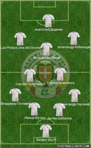 SC Volyn Lutsk 3-5-2 football formation