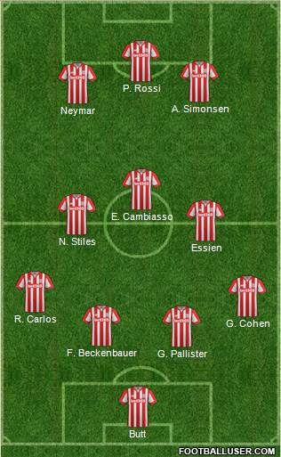 Stoke City 4-1-2-3 football formation