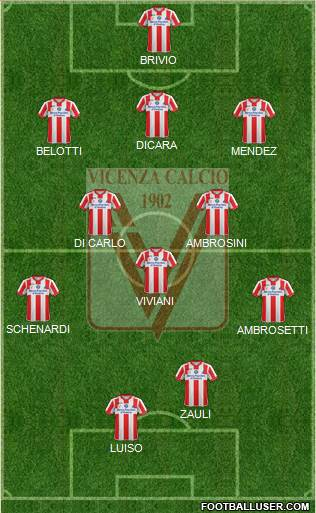 Vicenza 3-5-1-1 football formation