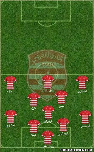 Club Africain Tunis 4-3-2-1 football formation