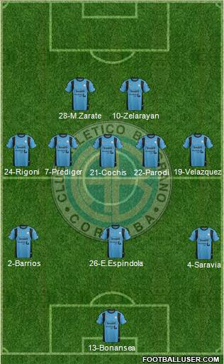 Belgrano de Córdoba 3-5-2 football formation