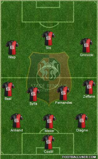 Stade Rennais Football Club 3-4-3 football formation