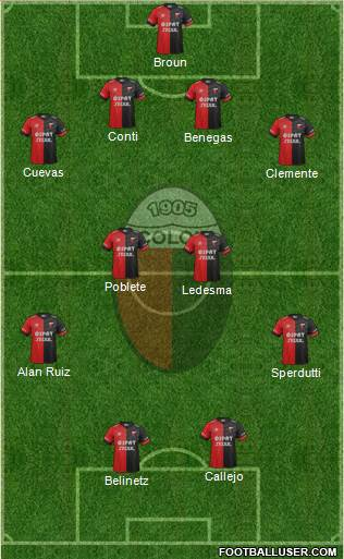 Colón de Santa Fe 4-2-2-2 football formation