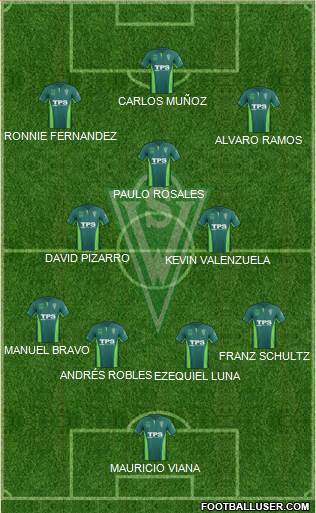 CD Santiago Wanderers S.A.D.P. 4-3-2-1 football formation