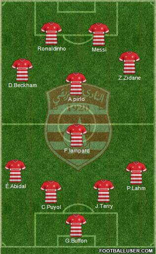 Club Africain Tunis 4-1-3-2 football formation