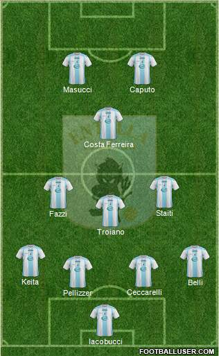 Virtus Entella 4-3-1-2 football formation