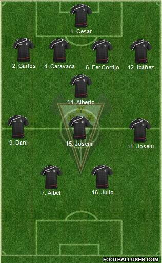 Albacete B., S.A.D. 4-1-2-3 football formation
