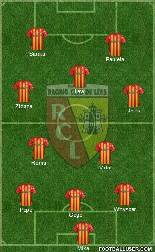 Racing Club de Lens 3-5-2 football formation