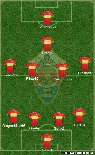 Elche C.F., S.A.D. 4-4-1-1 football formation