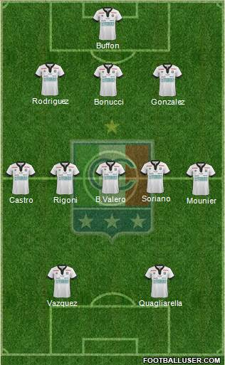 CD Once Caldas 3-5-2 football formation