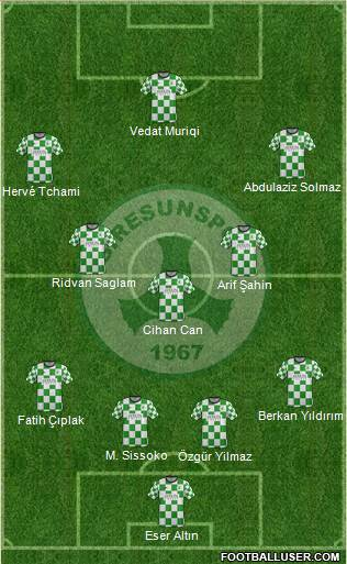 Giresunspor 5-4-1 football formation