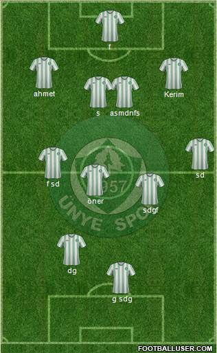 Ünyespor 4-2-4 football formation