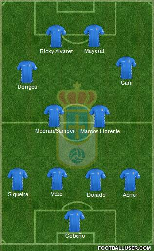 Real Oviedo S.A.D. 4-2-2-2 football formation