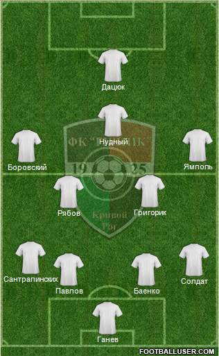 Girnyk Kryvyi Rih 4-4-1-1 football formation