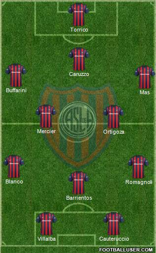 San Lorenzo de Almagro 3-4-1-2 football formation