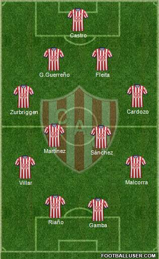 Unión de Santa Fe 4-2-1-3 football formation