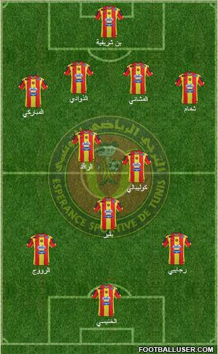 Espérance Sportive de Tunis 4-3-1-2 football formation