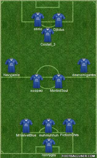 Everton 3-4-1-2 football formation
