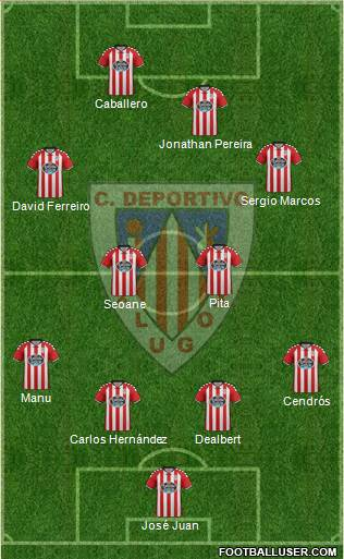 C.D. Lugo 4-4-2 football formation