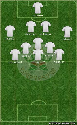 U Nacional de Ucayali 4-3-3 football formation