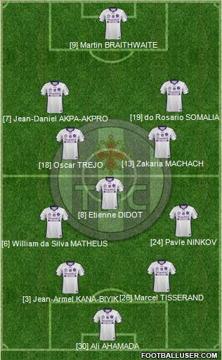 Toulouse Football Club 4-1-4-1 football formation