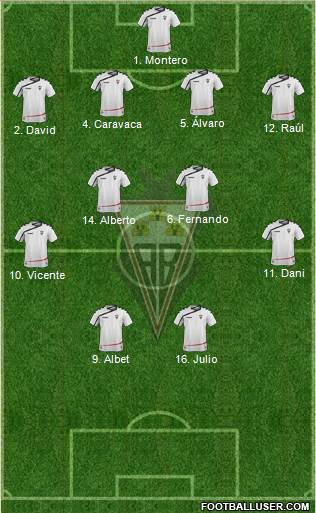 Albacete B., S.A.D. 4-2-1-3 football formation