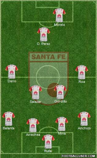 Santa Fe CD 4-4-1-1 football formation