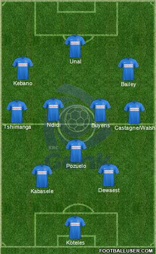 K Racing Club Genk 3-4-3 football formation