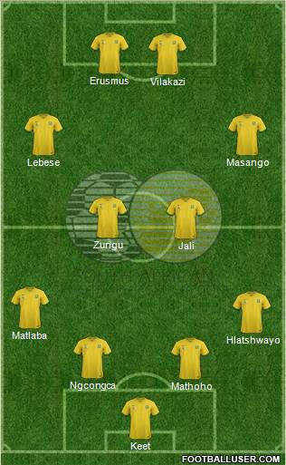 South Africa 4-2-1-3 football formation