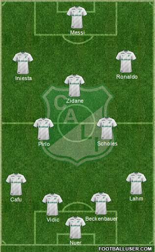 AC Deportivo Cali 4-3-2-1 football formation
