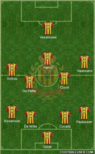 Yellow Red KV Mechelen 4-2-3-1 football formation