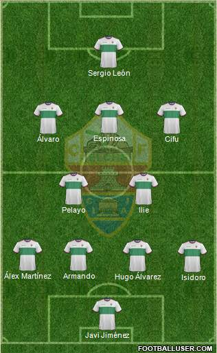 Elche C.F., S.A.D. 4-2-3-1 football formation