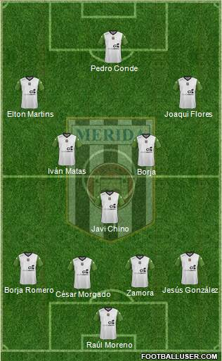 U.D. Mérida 4-2-1-3 football formation
