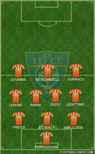 Lecce 3-4-3 football formation