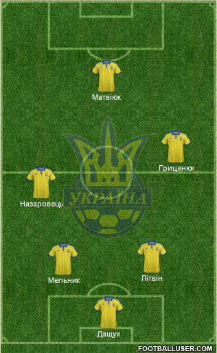 Ukraine 4-1-3-2 football formation