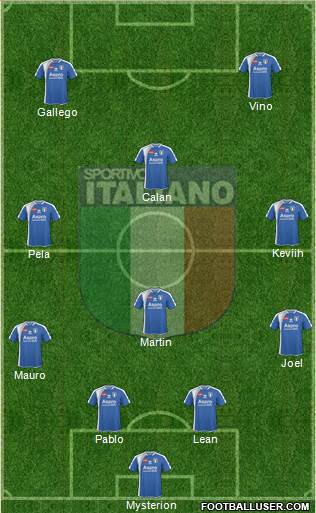 Sportivo Italiano 4-3-3 football formation
