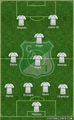 AC Deportivo Cali 4-3-1-2 football formation