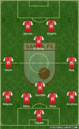 Santa Fe CD 4-3-1-2 football formation