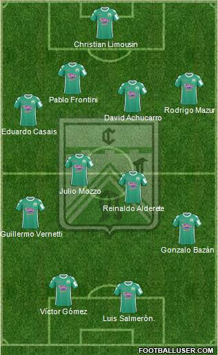 Ferro Carril Oeste 4-4-2 football formation