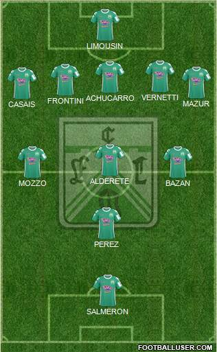 Ferro Carril Oeste 5-3-2 football formation