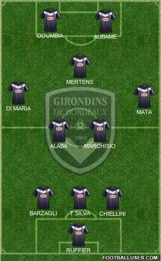 FC Girondins de Bordeaux 3-4-1-2 football formation