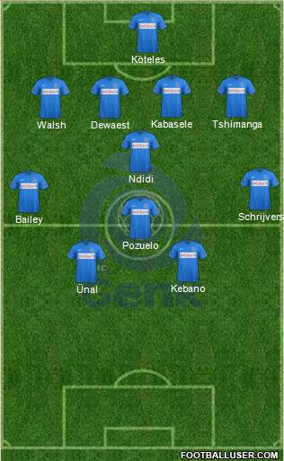 K Racing Club Genk 4-3-1-2 football formation