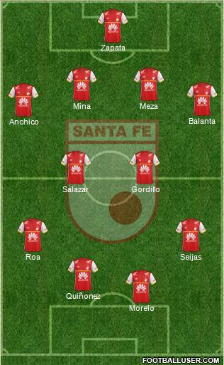 Santa Fe CD 4-4-2 football formation