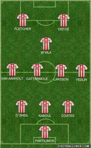 Sunderland 3-4-1-2 football formation