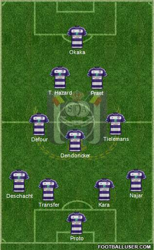 RSC Anderlecht 4-3-2-1 football formation