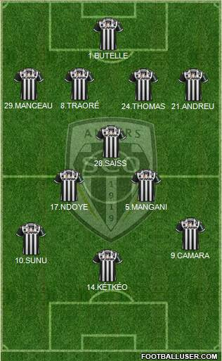 Angers SCO 4-1-3-2 football formation