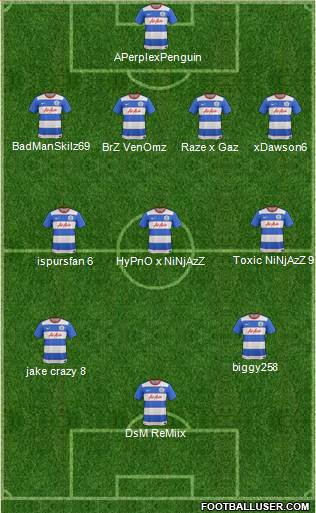 Queens Park Rangers 4-3-2-1 football formation