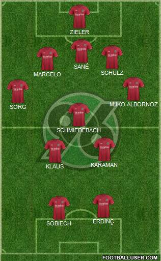 Hannover 96 4-1-4-1 football formation