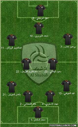 Al-Shabab (KSA) 4-2-3-1 football formation