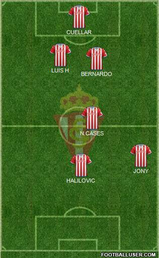 Real Sporting S.A.D. 4-2-3-1 football formation